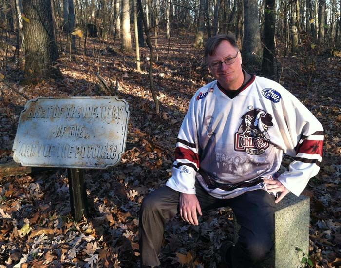 0afc2c5fa Bjorn Skaptason of the Abraham Lincoln Book Shop, sports one of the Condors  Gettysburg Address Jerseys for the sesquicentennial of Abraham Lincoln's  famous ...