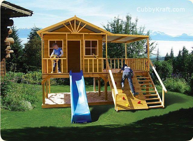 Redwood Lodge, Playhouse, Outdoor Playground Equipment, Cubby House,  Redwood Lodge Cubby House