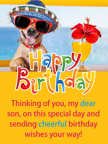 Festive Dog Happy Birthday Card For Son Its Your Sons Birthday