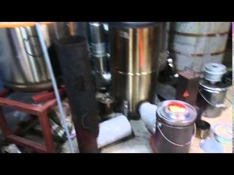 ぺール缶の焚き口ロケットストーブのテスト中。 - YouTube