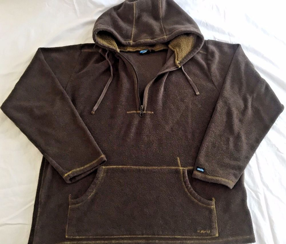 Kavu Brown XL Fleece Pullover Hoodie Jacket Brown Extra Large Mens ...