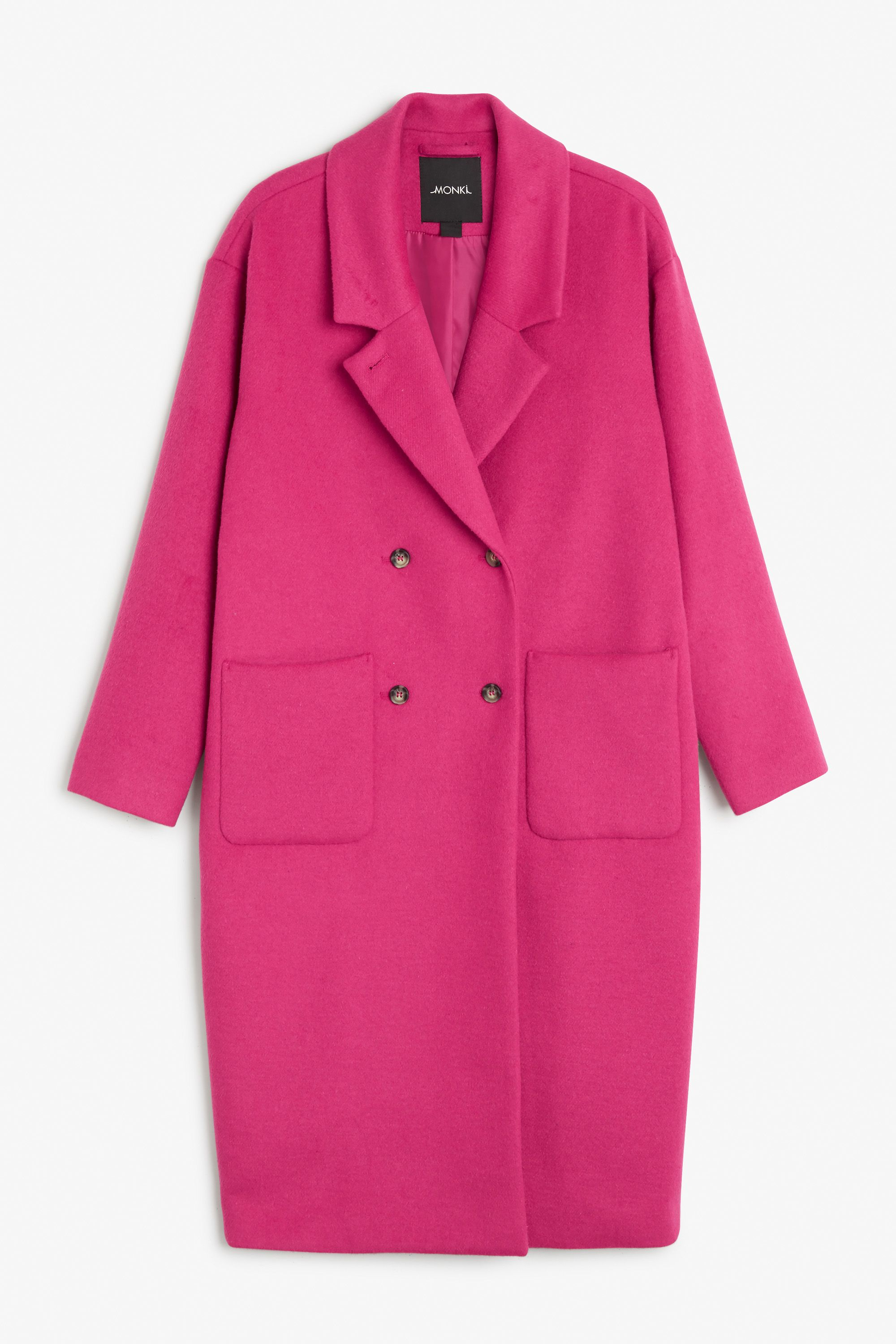 Monki Image 1 of Wool coat in Pink Dark | Clothes&Shoes ...