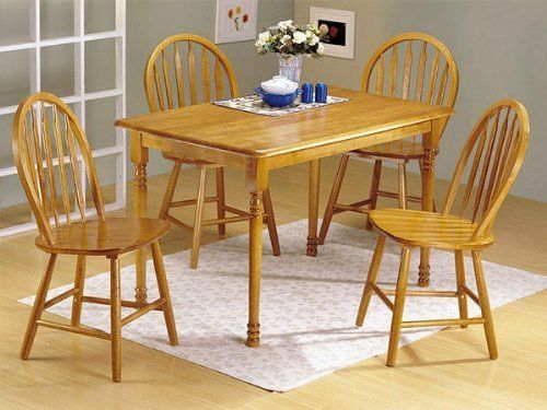 5pc Oak Finish Wood Dining Table 4 Windsor Chairs Set Find out