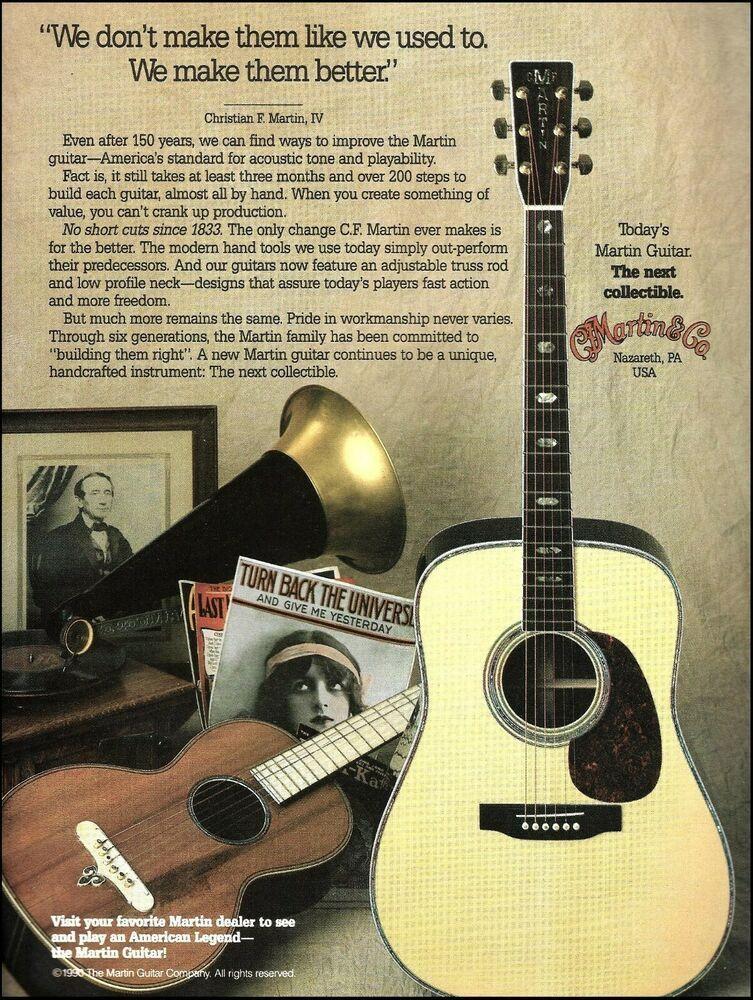 C F Martin Acoustic Guitar Company 1990 Advertisement 8 X 11 Ad Print Martin Martin Acoustic Guitar Martin Guitar Acoustic Guitar