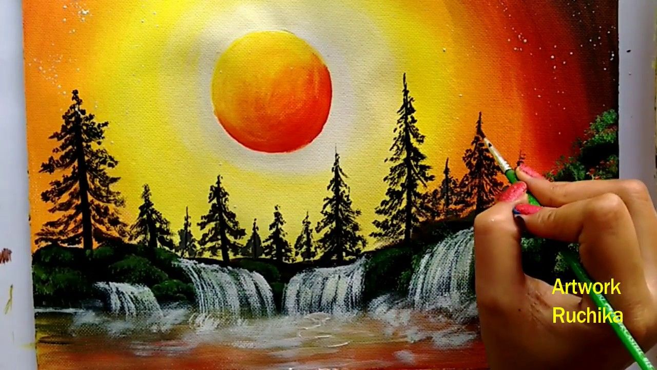 Waterfall Landscape Painting Sunset Scenery Painting Acrylic Painting For Beginners Youtu Scenery Paintings Landscape Paintings Acrylic Abstract Painting