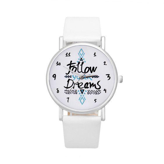 """La montre tendance du moment Montre """"follow your dreams"""" Idée"""