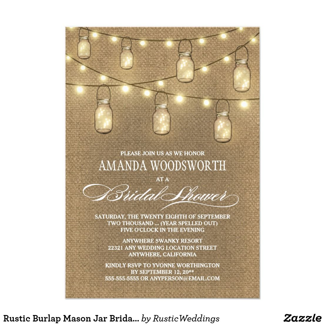 Rustic Burlap Mason Jar Bridal Shower Invitations Burlap Mason