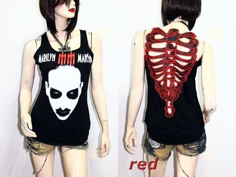 c8287e684fabe6 Marilyn Manson Heavy Metal Rock DIY Skeleton Back Top M L