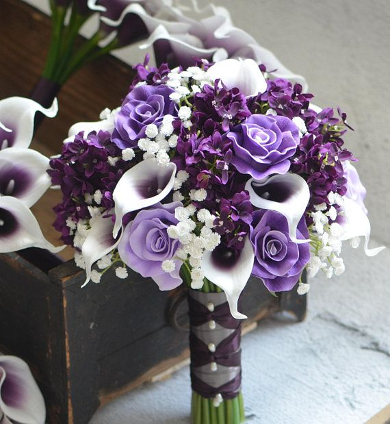 Calla Lilies Wedding Package-Picasso Purple Calla Lilies Silk Bridal Bouquet Real Touch Flowers PU Real Touch Roses