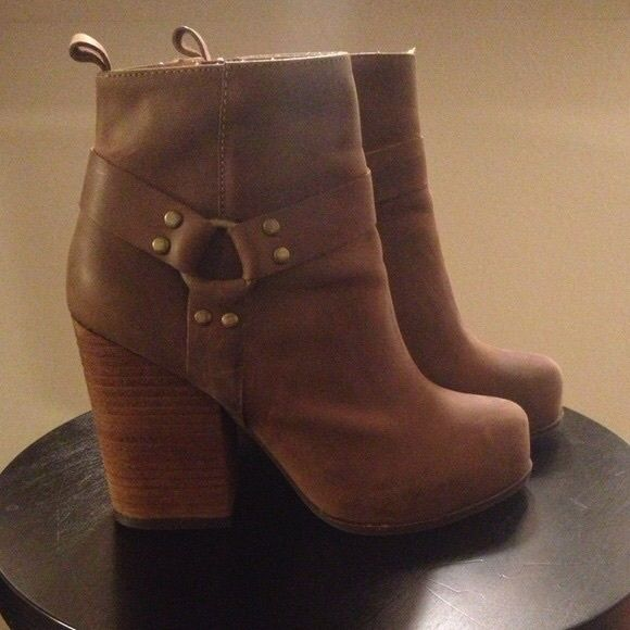 Jeffrey Campbell Rum Moto Boot Worn only once. Like-new condition. Sold out everywhere. Jeffrey Campbell brown leather strap and buckle boots. Very comfortable. True to size. Feel free to make an offer.l Jeffrey Campbell Shoes Ankle Boots & Booties