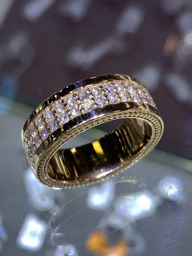 14k Rose Gold Mens Diamond Eternity Band Wedding Ring Etsy In 2020 Mens Diamond Wedding Bands Mens Wedding Rings Gold Diamond Wedding Bands