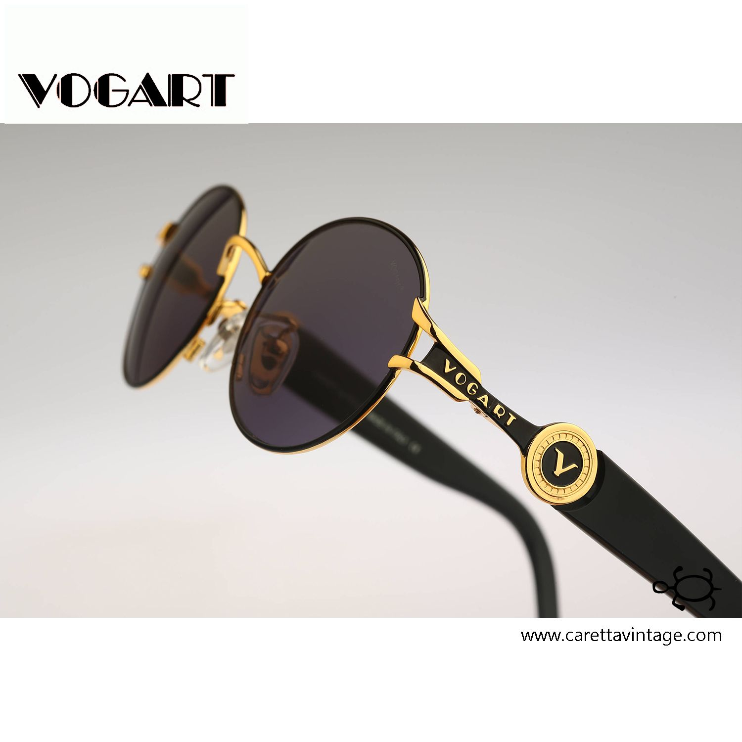 1ef93bd0e Vogart By Police 3527 101, Vintage round sunglasses, 90s unique and rare  black and gold color combination / NOS