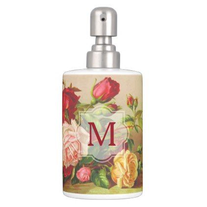 customize monogram vintage victorian roses bouquet flowers soap dispenser and toothbrush