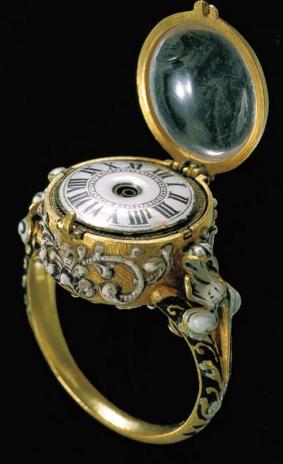 Ring clock Gold and Enamel Schmidt Johann Ulrich circa 1650 1670