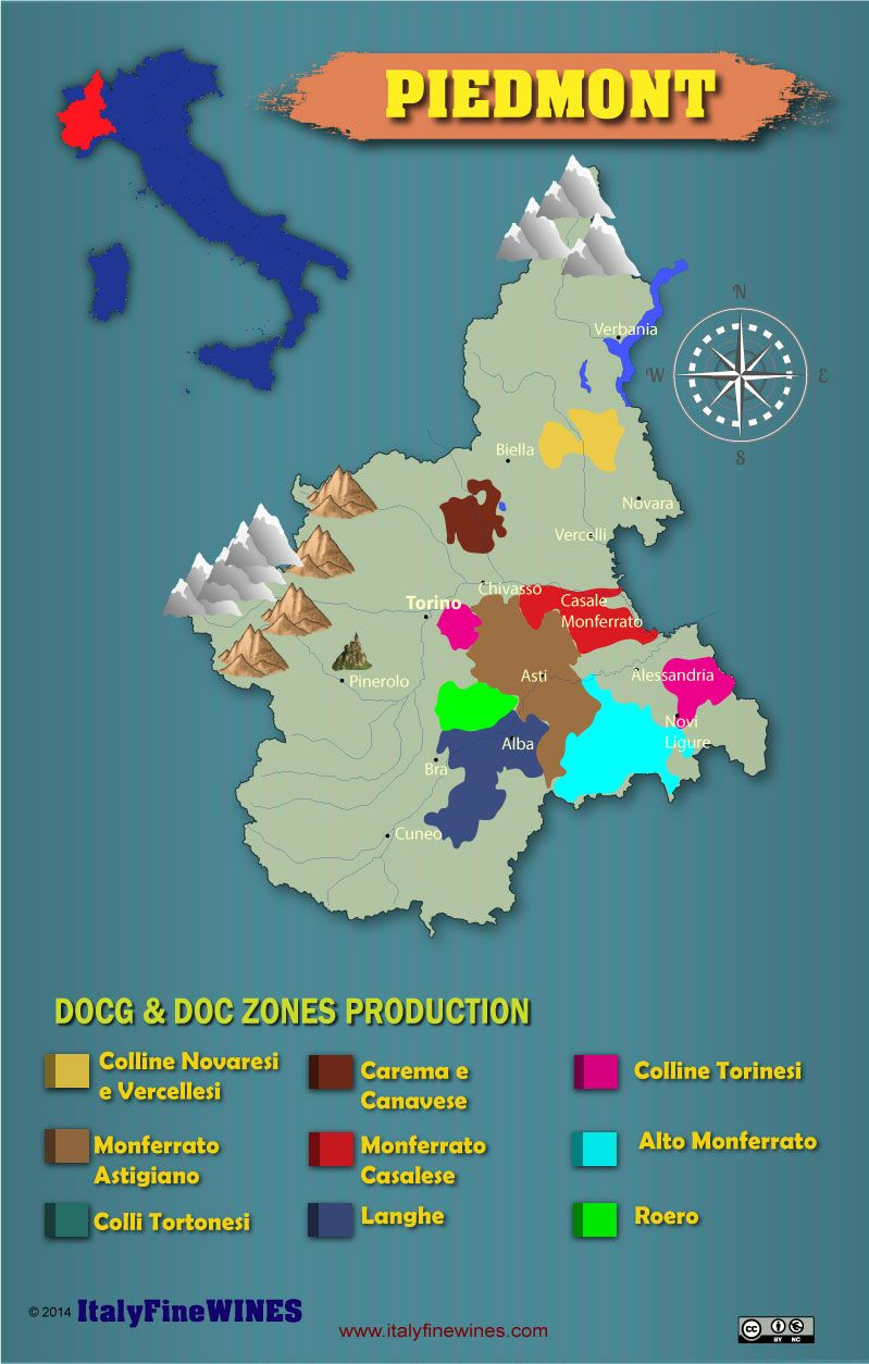 piedmont wine region with details of doc and docg appellations