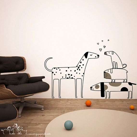 Attractive Love Dogs Wall Decas Wall Stickers   Big And Small Dogs Wall Decals On Etsy,
