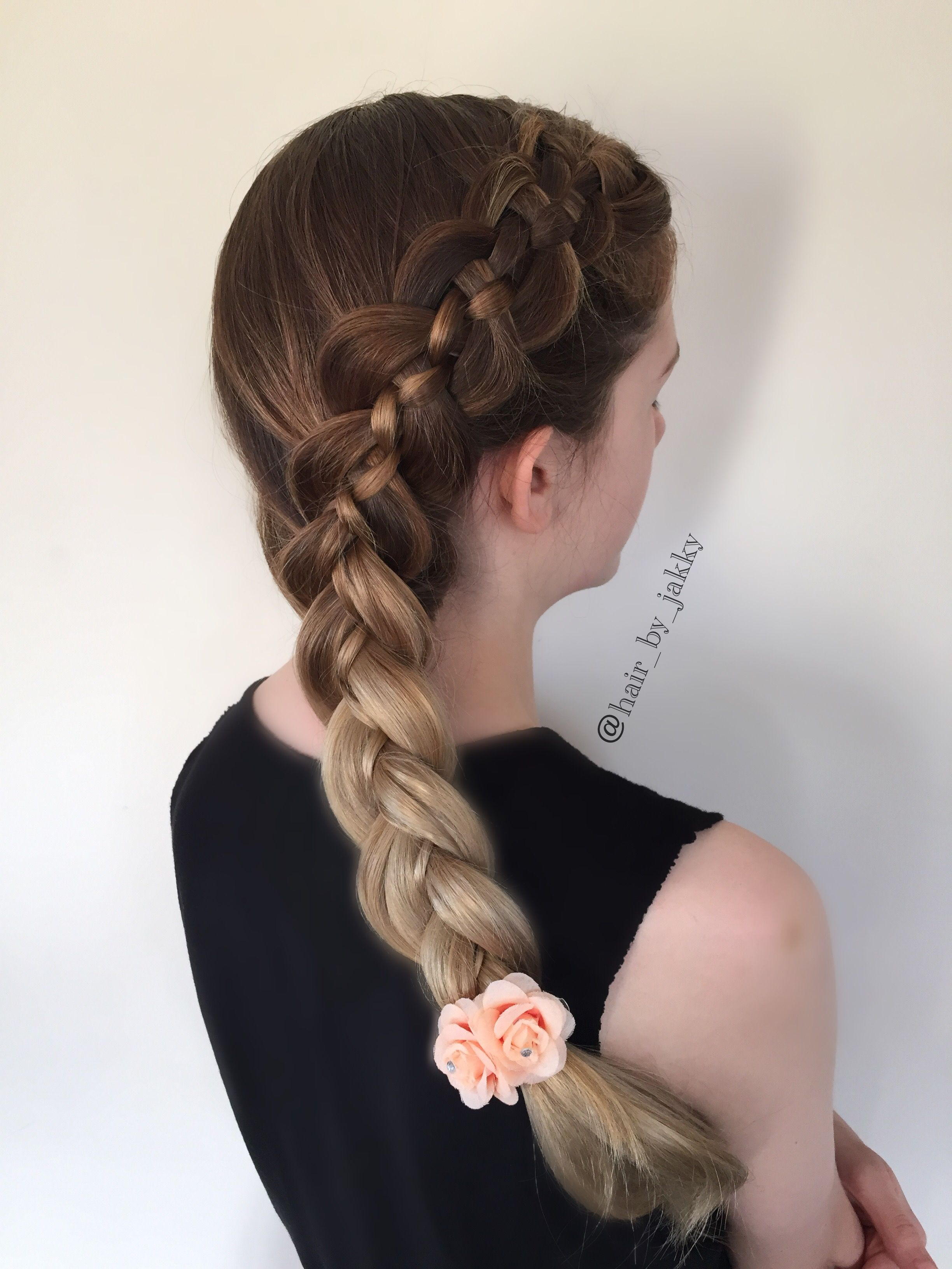 Five strand side dutch braid I love how the ombre looks with this