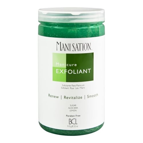 The BCL Manicure Exfloiant from the Manisation range is loaded with Glycolic Acid & Natural Sugar to gently buff away dead skin cells,leaving your hands younger-looking instantly.Grapefruit & Pomegranate extracts moisture that makes the hands smooth & soft.Paraben free,Safely exfoliates the skin with Glycolic Acid & Natural Sugar to buff away dead skin cells to reveal healthier, more radiant looking skin.