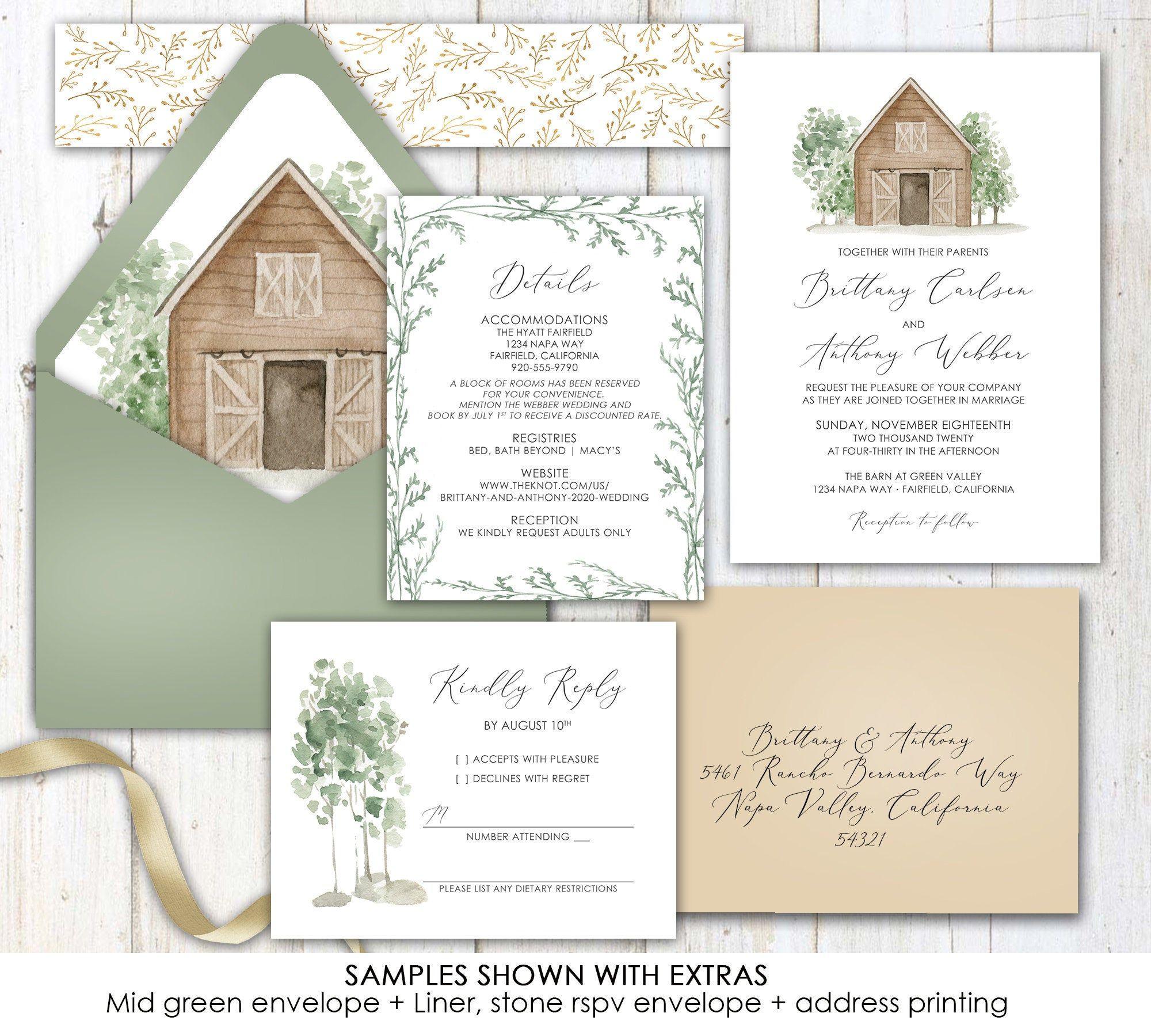 Barn Wedding Invitation Barn Rustic Simple Greenery Etsy Barn Wedding Invitations Wedding Invitations Barn Wedding