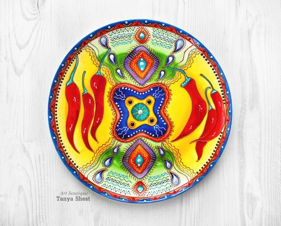 Decorative Plate Mexican Pepper Hand Painted Decor
