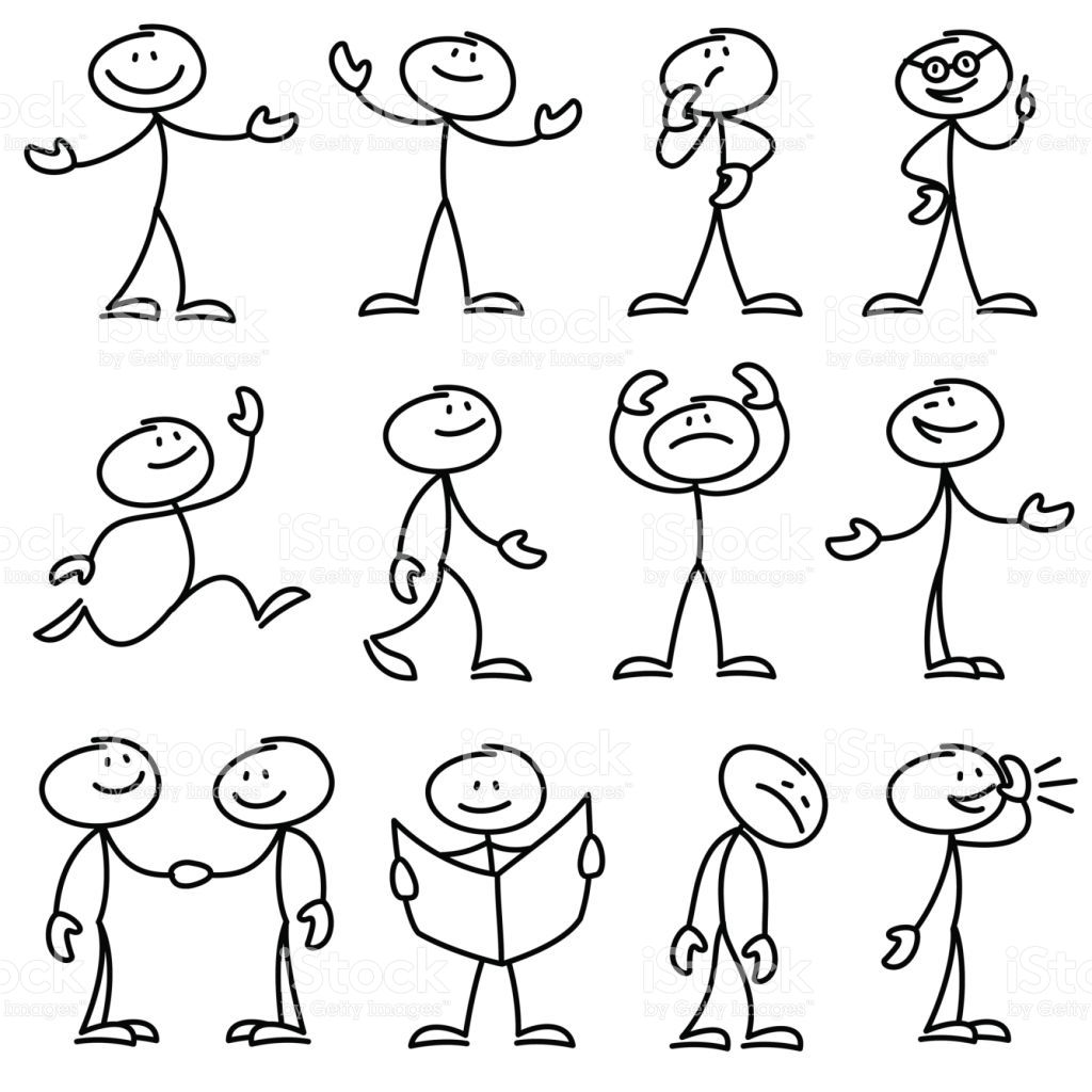 Cartoon hand drawn stick man in different poses vector set Cartoon