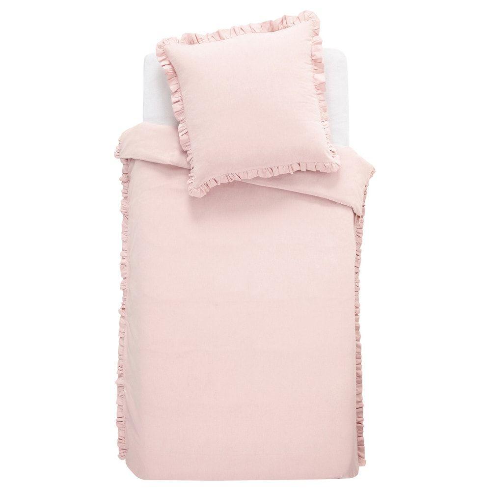 d406df2a9c2 Parure de lit en coton rose 140x200 ANAÏS