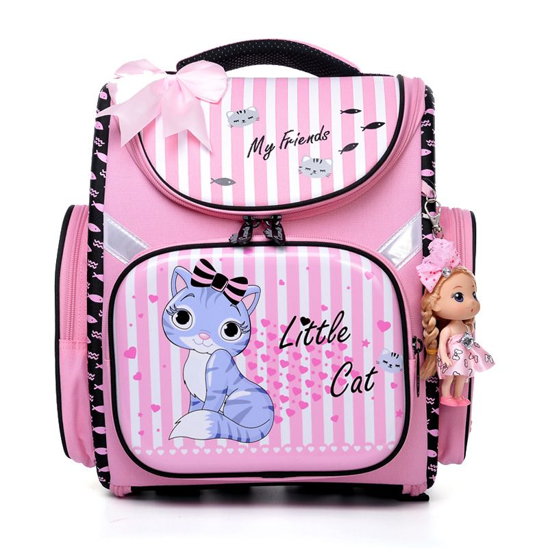 Delune New Product 2017 Children Cartoon Backpacks For School Girls School Bags Foldable Orthopedic School Backpacks Kids Bolsas