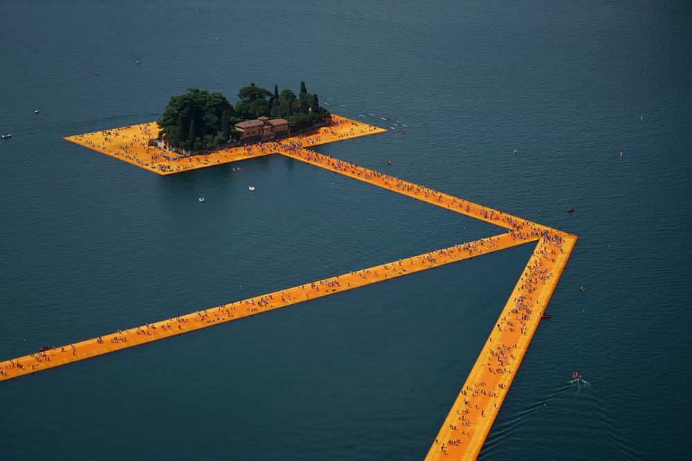 The Floating Piers - #floatingpiers by #Christo at #Iseo lake, #Italy . #art #artwork #Christo