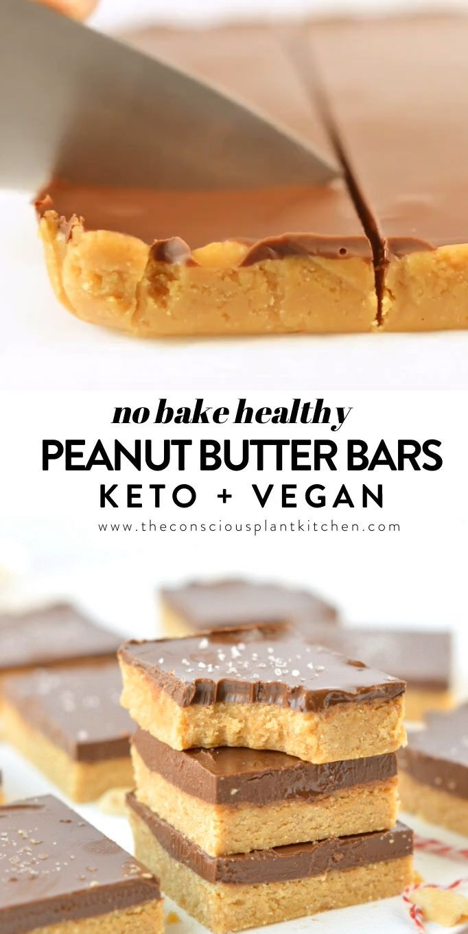No bake peanut butter bars healthy easy   The Conscious Plant ...