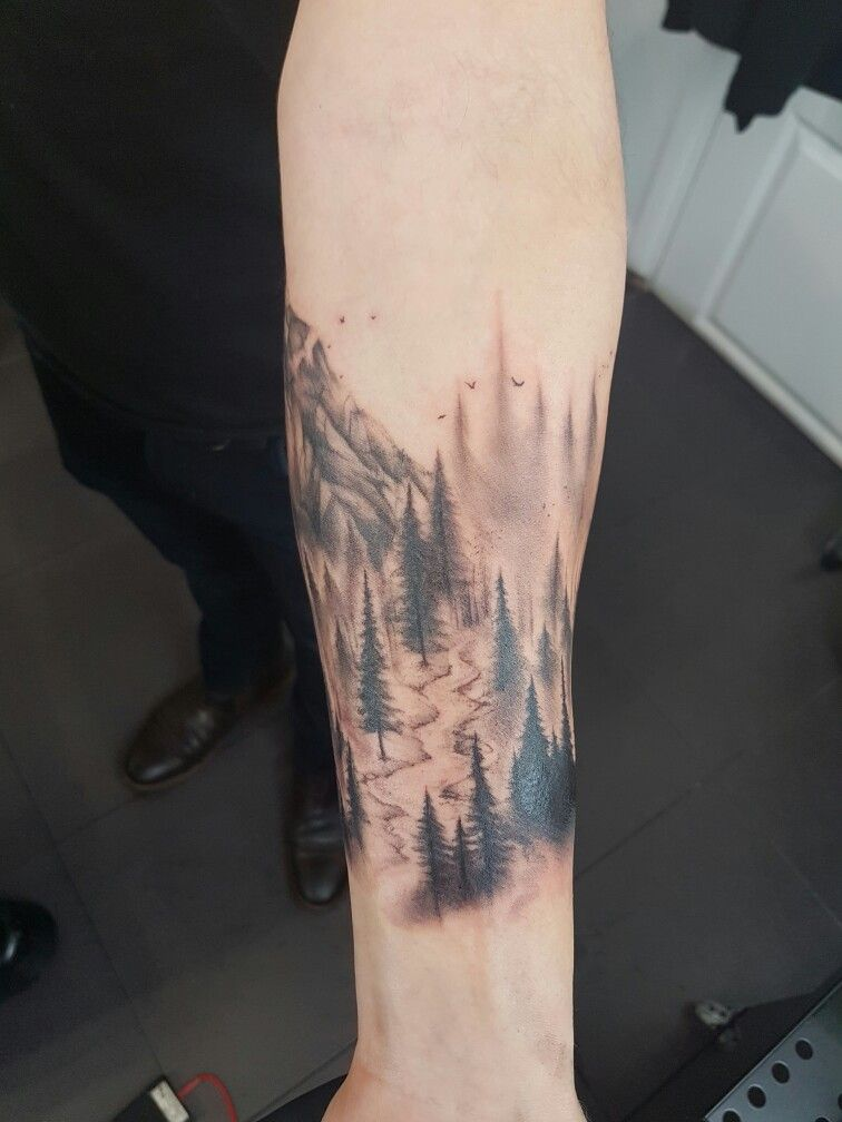 bb5521f43 tattoo #ink #cuff #arm #trees #mountain #forest #stream | Tattoos ...