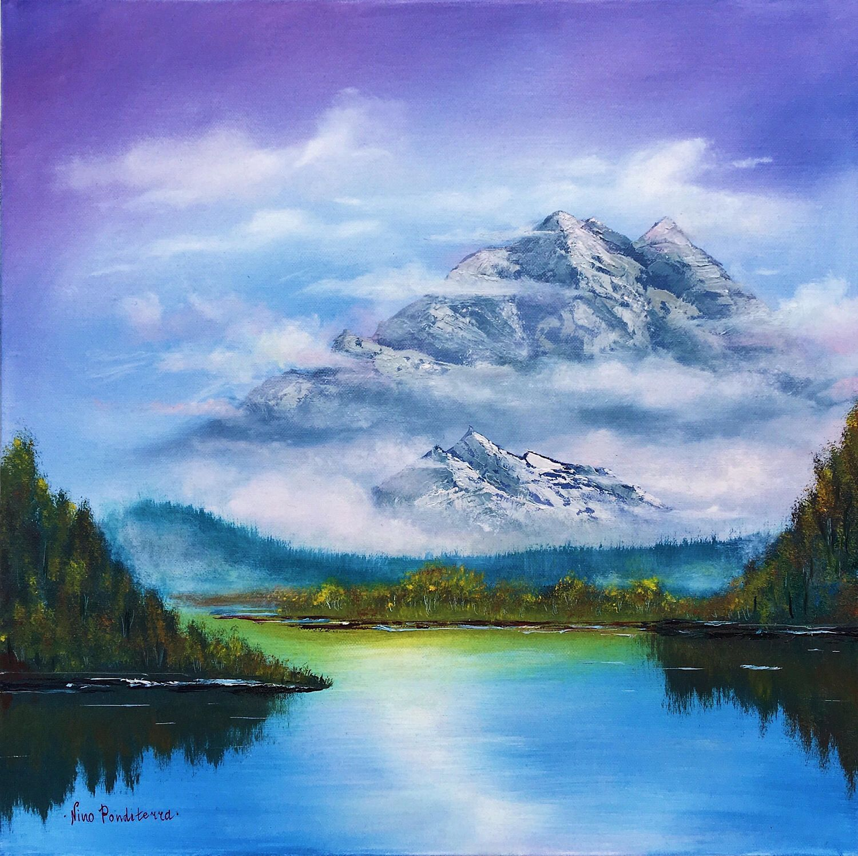 Mist Mountains Oil On Canvas Palette Art Swiss Made Postcards Print Art Fine A Mountain Landscape Painting Original Landscape Painting Art Painting Oil