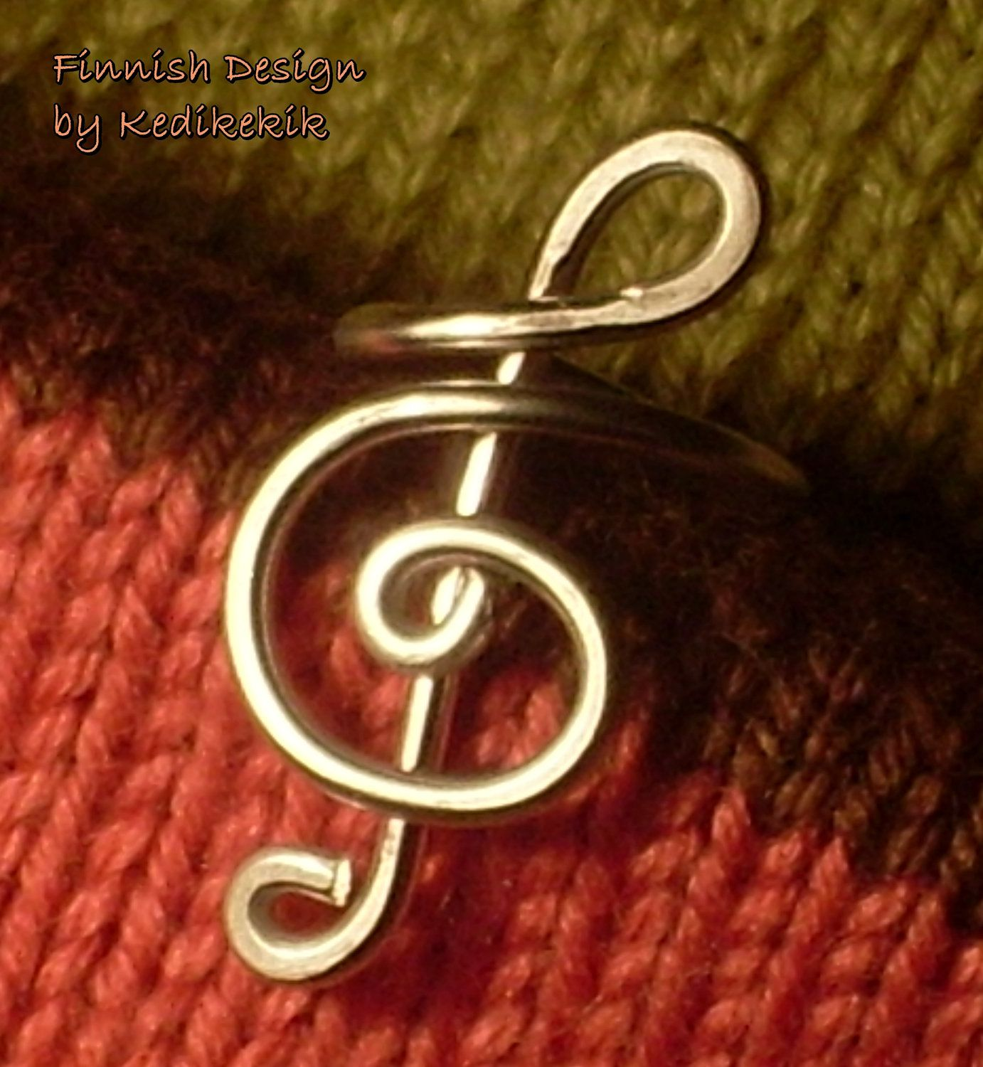 Wrapped Wire TREBLE CLEF RING for You Who Like Music - Custom Made - For Musicians and Music Lovers - Delivered in Cute Lilac Ring Box. $13.99, via Etsy.