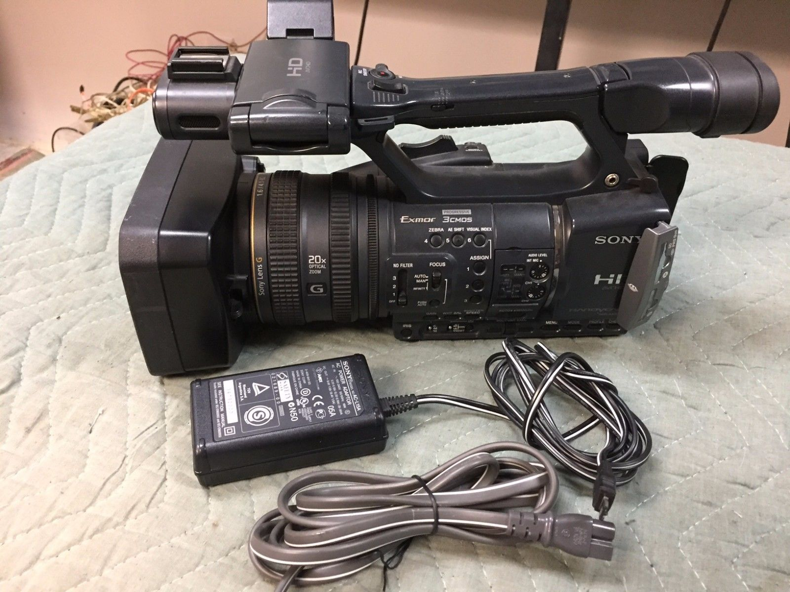 HDR AX2000 Sony Camcorder with power supply Needs Repair
