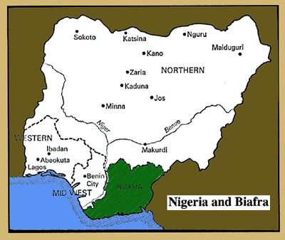 Map showing Biafra and Nigeria Yahaya