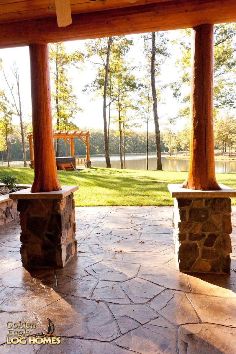 Covered Patio Cultured Stone Concrete Piers Exterior | my log cabin ...