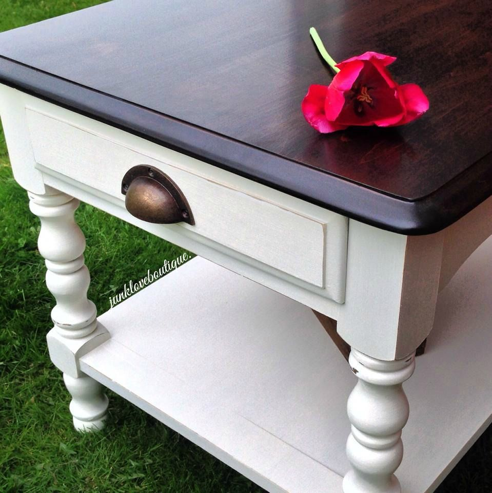 Junk Love Boutique This Adorable Off White End Table Is