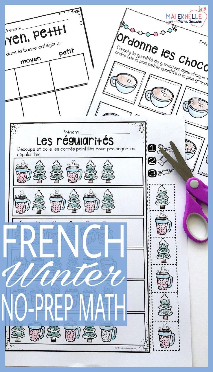 FRENCH Winter (hiver) No Prep Math Worksheets - Cut & Paste ...