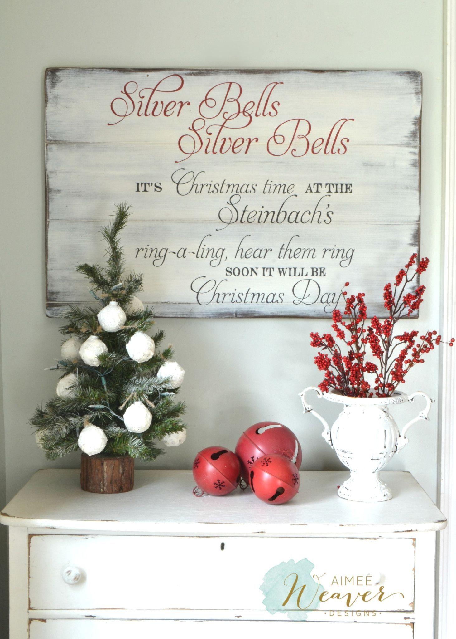Silver Bells Christmas Sign