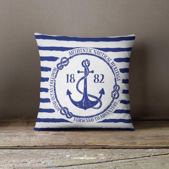 Nautical Anchor Pillow - Cushions & Pillows - 18 x 18 - Hamptons Style