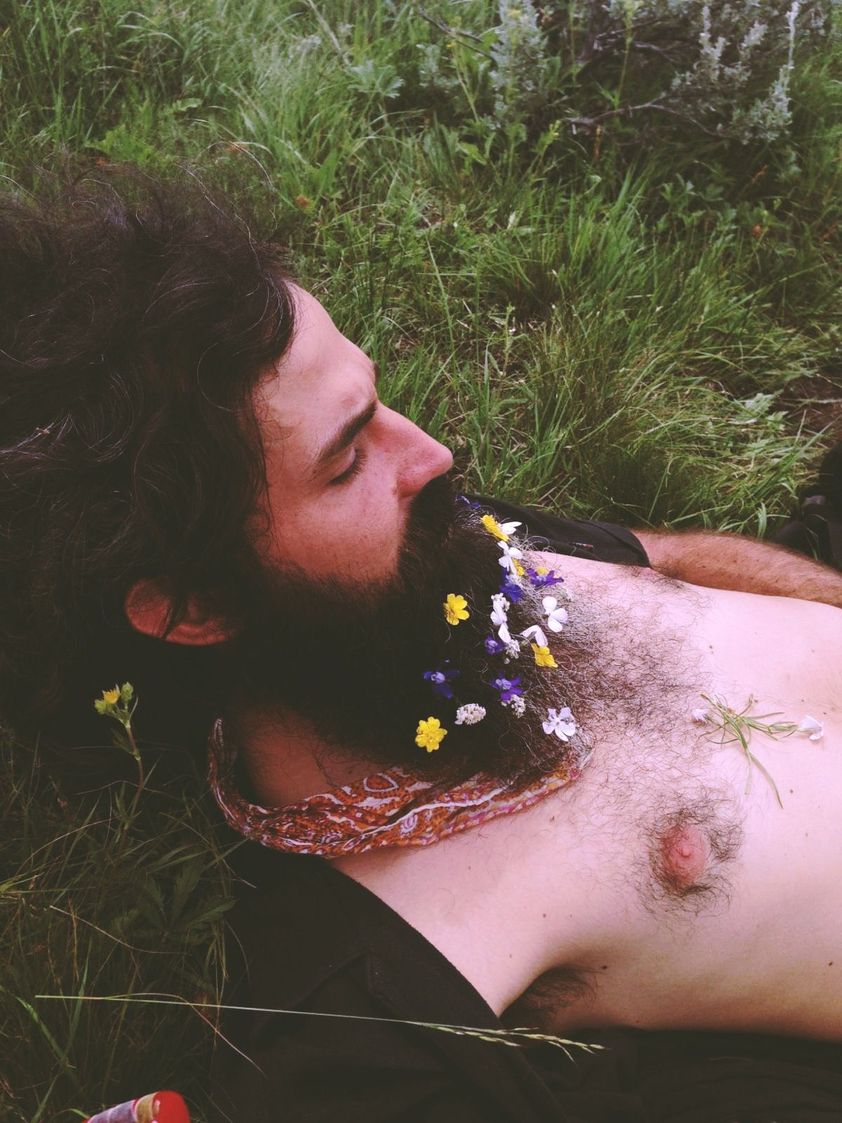 blossoming beard with birdsong in background