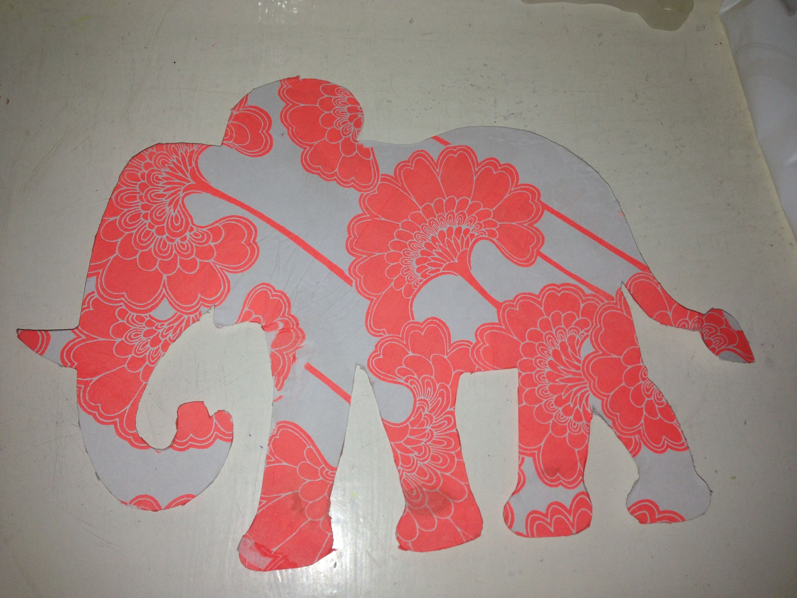 Elephant xx Made from template covered in tissue paper left to dry