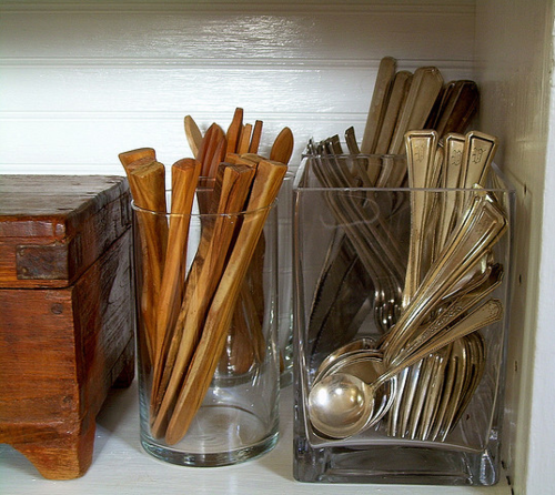 Large Square Glass Case For Utensils On Buffet Kitchen Utensils Trendy Kitchen Utensils