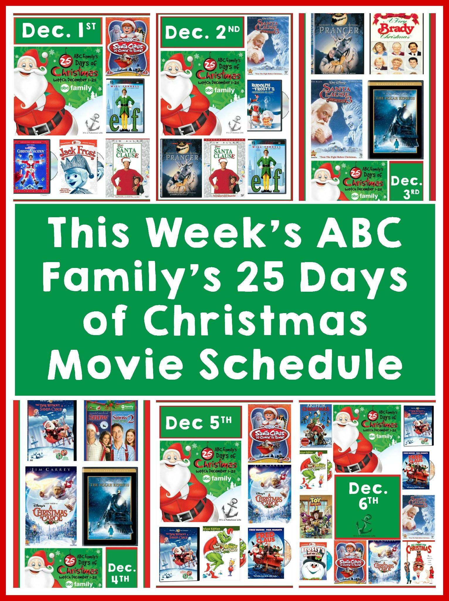 Abc Family S 25 Days Of Christmas Schedule December 1st 6th 25