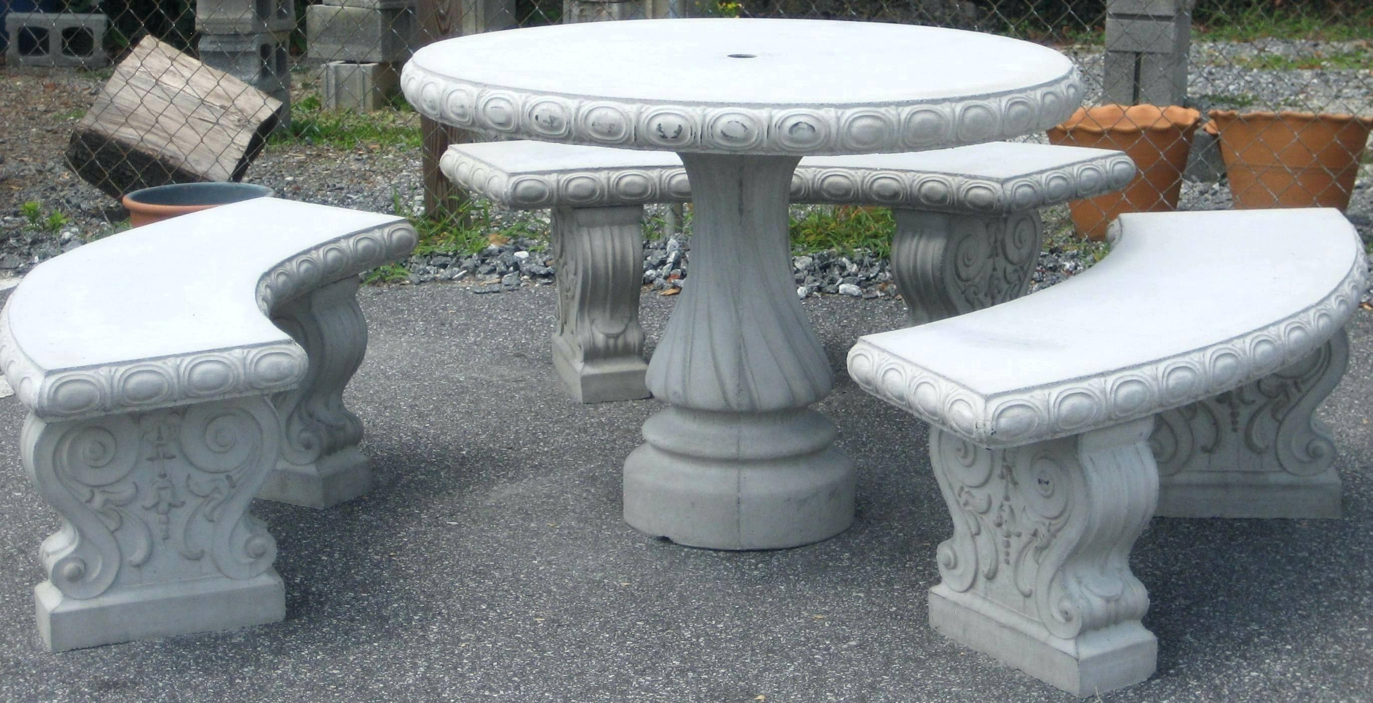 Concrete Patio Tables And Benches Concrete Patio Concrete Table