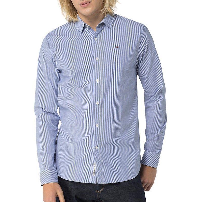 Chemise Tommy Hilfiger Jeans homme rayé bleu et blanc
