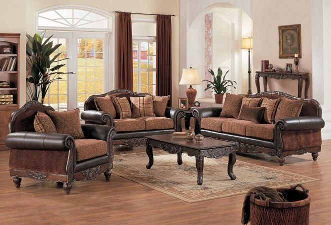 Brown leather, mahogany wood and upholstry sofa set - poundex  f7649