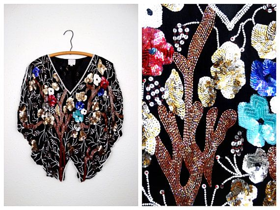 Heavily Beaded Butterfly Sequin Top // Art Deco Beaded by braxae