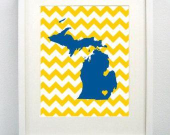 Ann Arbor Michigan State Giclée Map Art Print 8x10 University