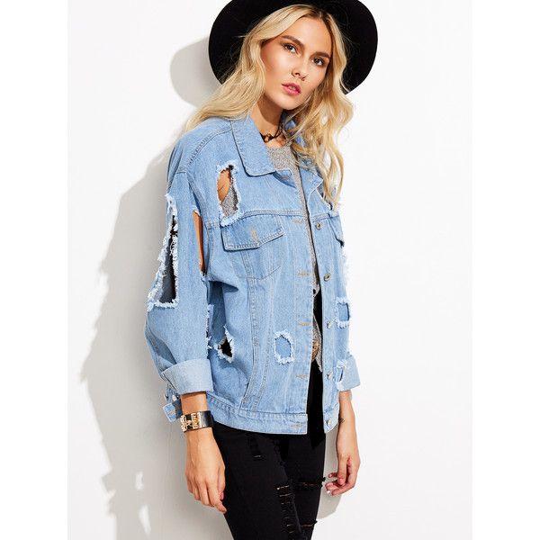 SheIn(sheinside) Blue Ripped Denim Jacket (€21) ❤ liked on