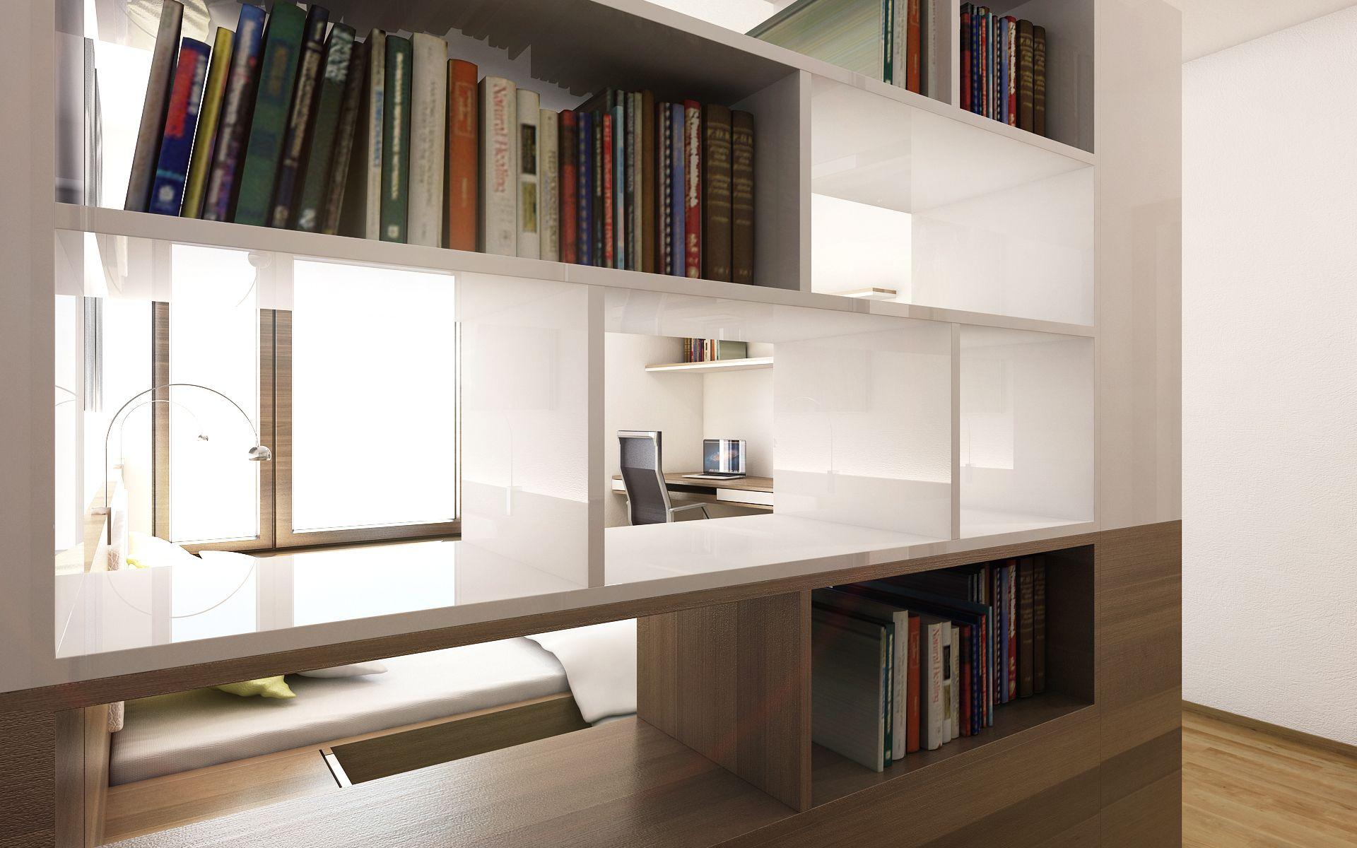 Knihovna dokonale lad ke zbytku ložnice a nabz dostatek prostoru nejen pro knihy